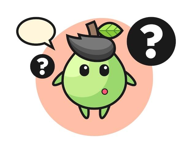 Karikaturillustration der guave mit dem fragezeichen, niedlicher stil für t-shirt, aufkleber, logoelement