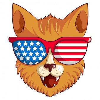 Karikaturillustration der katze mit gläsern