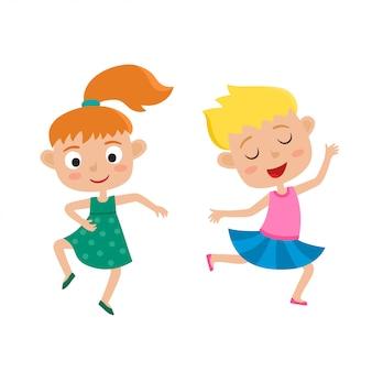 Karikaturillustration der kleinen anmutigen mädchen-tänzerin lokalisiert auf weiß, satz von zwei kleinen glücklichen kindern, die tanzen und lächeln. hübscher tanz.