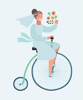 Karikaturillustration der lustigen hochzeitseinladung mit dem fahrrad der braut reiten