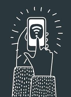 Karikaturillustration der menschlichen hände halten smartphone und berühren durch finger-wlan-symbol