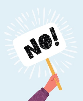 Karikaturillustration der menschlichen hand mit fahne keine antwortwahl