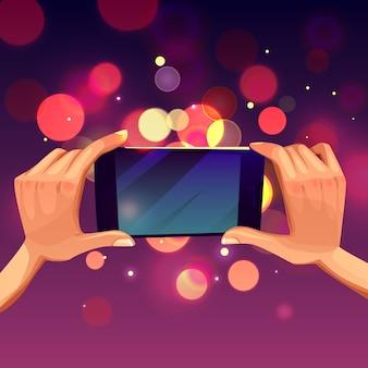 Karikaturillustration der menschlichen hand smartphone halten.