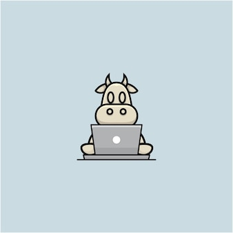 Karikaturillustration der netten kuh, die mit laptop arbeitet