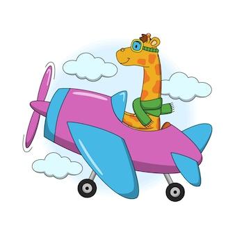 Karikaturillustration der niedlichen giraffe, die in einem flugzeug fliegt