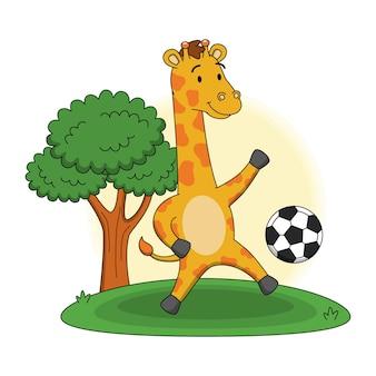Karikaturillustration der niedlichen giraffe, die mit einem ball spielt