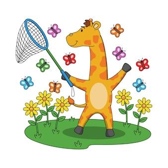 Karikaturillustration der niedlichen giraffe, die mit schmetterlingen spielt