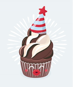 Karikaturillustration der niedlichen komischen schokoladenmuffin-zeichentrickfigur mit lächelndem gesicht küssen sie. celebaration. vektorlebensmittelillustration auf einem weißen hintergrund.