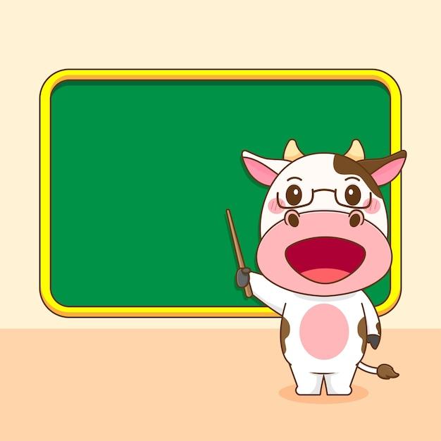 Karikaturillustration der niedlichen kuh als lehrercharakter
