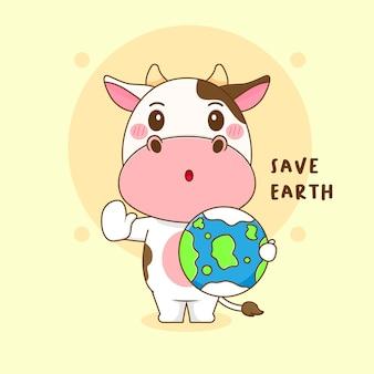 Karikaturillustration der niedlichen kuh retten erde