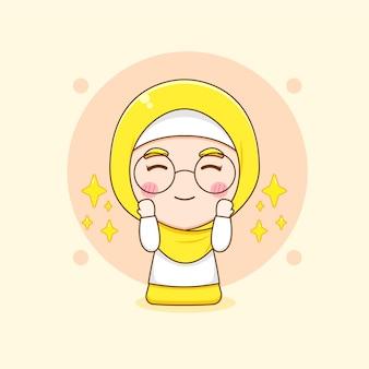 Karikaturillustration der niedlichen muslimischen frau mit den betenden gläsern