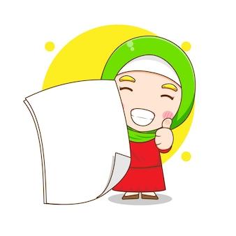 Karikaturillustration der niedlichen muslimischen frauenfigur mit leerem papier
