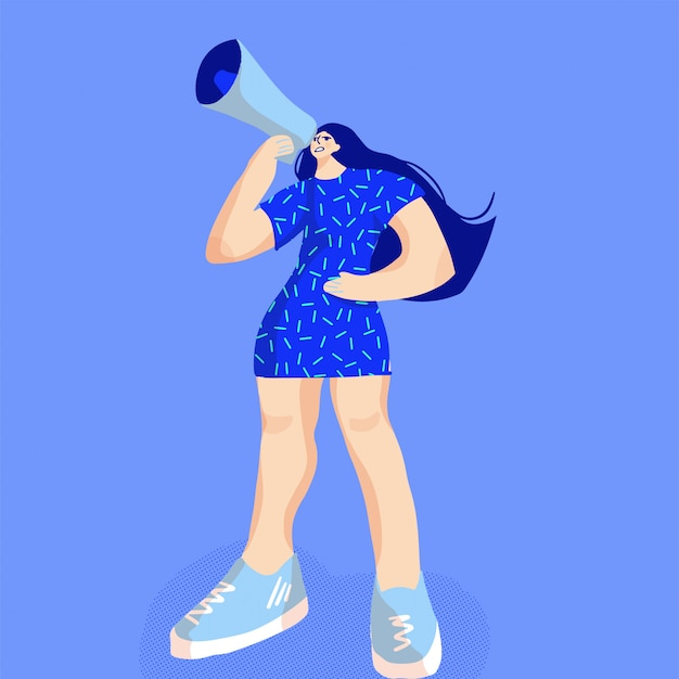 Karikaturillustration der porträtfrau, die mit einem megaphon schreit.