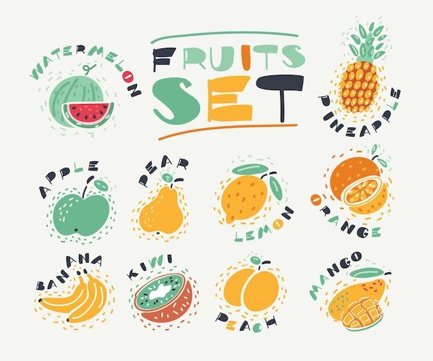 Karikaturillustration der sammlung von früchten. handgezeichnete designelemente für frische lebensmittel isoliert auf weißem hintergrund und namen.