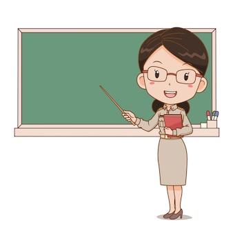 Karikaturillustration der thailändischen lehrerin, die einen stock vor tafel hält.