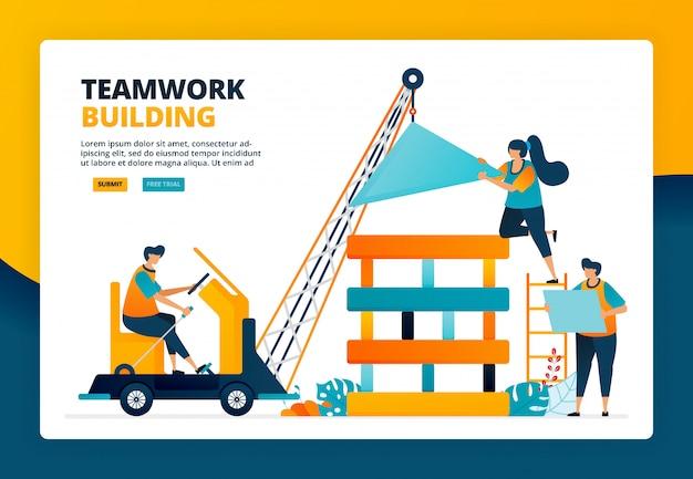 Karikaturillustration des arbeiters, der eine konstruktion baut. planung und strategie in teamarbeit und zusammenarbeit. menschliche entwicklung