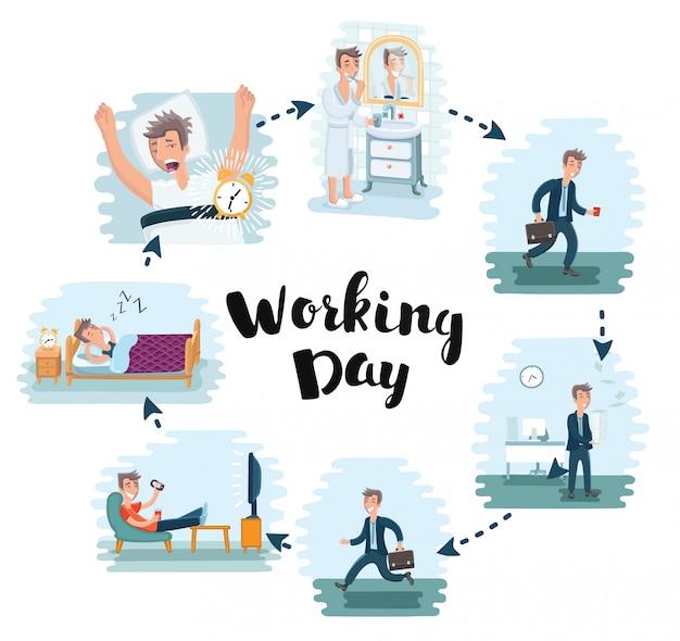 Karikaturillustration des arbeitstages des mannes im büro. büroangestellter arbeitet und ruht sich nach der arbeit aus