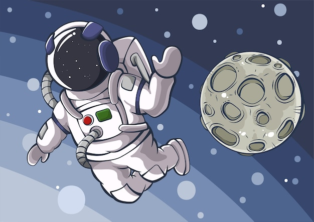 Karikaturillustration des astronauten und des mondes im raum