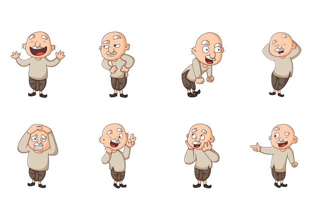 Karikaturillustration des aufklebersatzes des alten mannes
