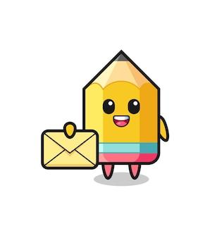 Karikaturillustration des bleistifts, der einen gelben buchstaben, nettes artdesign für t-shirt, aufkleber, logoelement hält
