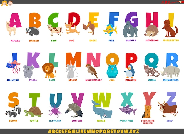 Karikaturillustration des bunten vollen alphabet-satzes mit lustigen tiercharakteren und bildunterschriften