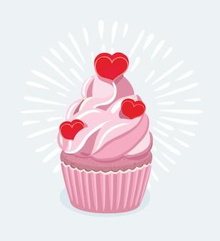 Karikaturillustration des cupcakes verziert mit einem herzförmigen kuchenpickel