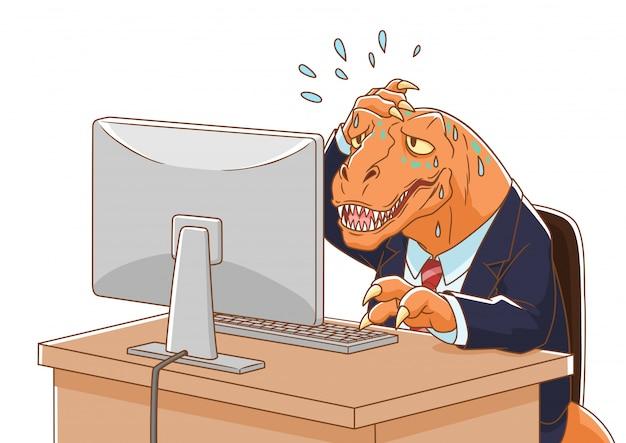 Karikaturillustration des dinosaurier tragenden anzugs, der mit computer arbeitet.