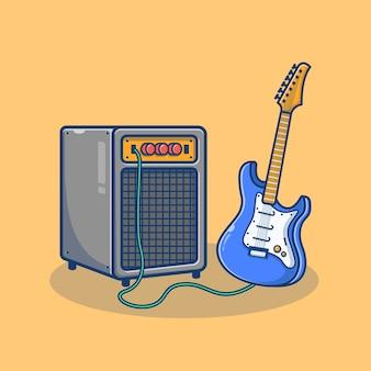 Karikaturillustration des elektrischen gitarrensystems und des soundsystems