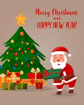 Karikaturillustration des freundlichen weihnachtsmannes mit geschenken. weihnachtsbaum im hintergrund