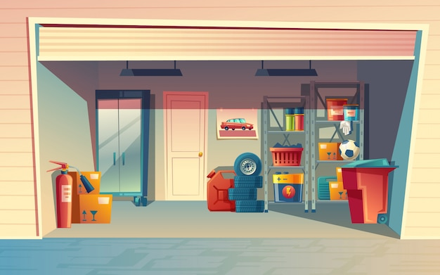 Karikaturillustration des garageninnenraums, lagerraum mit selbstausrüstung, reifen, kanister
