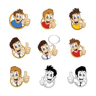 Karikaturillustration des glücklichen kerllächelns karikaturthema-vektorkunstillustration