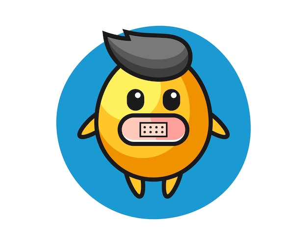 Karikaturillustration des goldenen eies mit klebeband auf mund, niedliche artentwurf