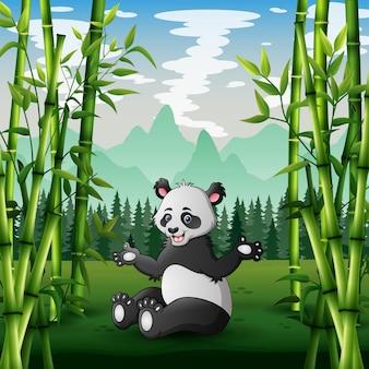Karikaturillustration des großen pandas, der in einem grünen feld sitzt