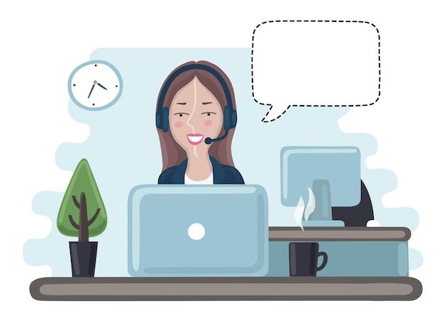 Karikaturillustration des hübschen mädchenverwaltungsberaters im callcenter