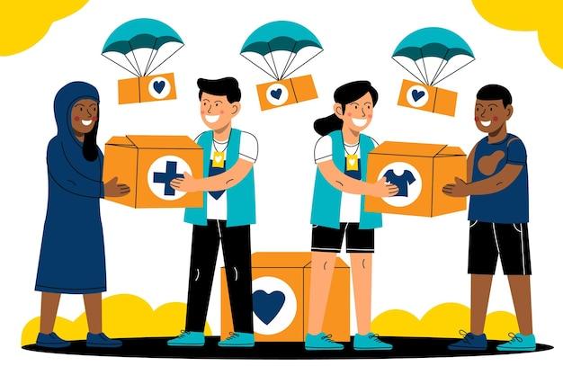 Karikaturillustration des humanitären welttages