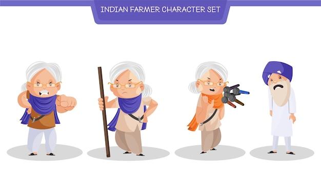 Karikaturillustration des indischen bauern-zeichensatzes
