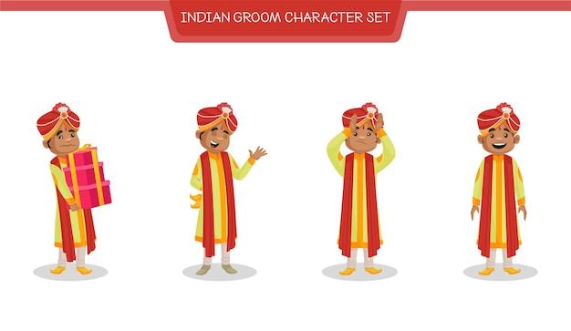 Karikaturillustration des indischen bräutigamzeichensatzes