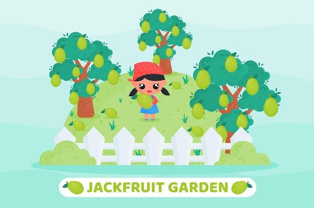 Karikaturillustration des jackfruchtgartens mit nettem bauer, der jackfrucht erntet und hält