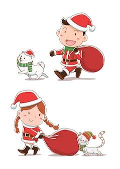 Karikaturillustration des jungen und des mädchens, die santa claus-stoffe, gehend mit katze und hund kleiden.