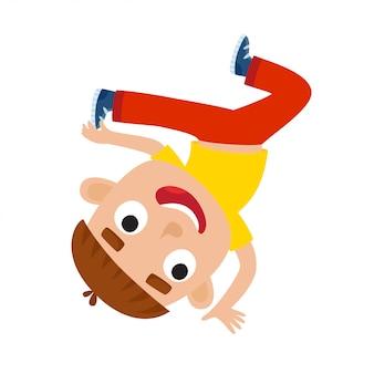 Karikaturillustration des kleinen brünetten jungen-tänzers lokalisiert auf weißem, kleinem glücklichem jungen mit tanzendem hip-hop und lächeln.