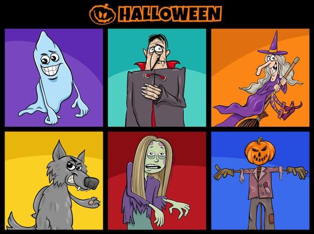 Karikaturillustration des komischen beängstigenden halloween-zeichensatzes