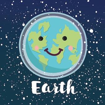 Karikaturillustration des lächelnden glücklichen planeten