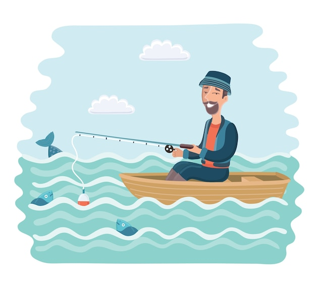 Karikaturillustration des lächelnden mannes, der auf dem boot fischt.