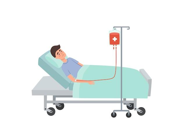 Karikaturillustration des liegenden patienten mit blutstropfen im krankenhaus lokalisiert auf weiß. gesundheitskonzept mit patient während der bluttransfusion