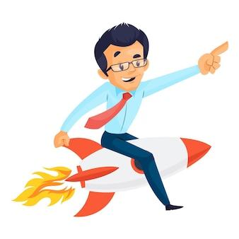 Karikaturillustration des mannes, der auf der rakete sitzt und fliegt