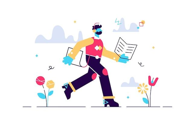 Karikaturillustration des mannes, der mit buch in seinen händen läuft. bildungskonzept. junger mann student mit kopfhörern. lese- und hörstudium. selbstbildung. späte, assimilieren sie informationen schnell.