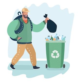 Karikaturillustration des mannes, der müll wirft, gehen grüne mülleimer