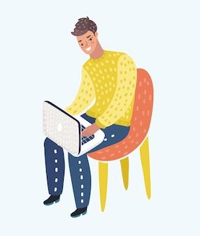 Karikaturillustration des mannes im lässigen outfit, der zu hause im bequemen sessel sitzt und an seinem schoß stöbert oder am laptop arbeitet.