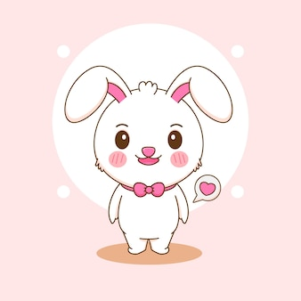 Karikaturillustration des netten kaninchencharakters