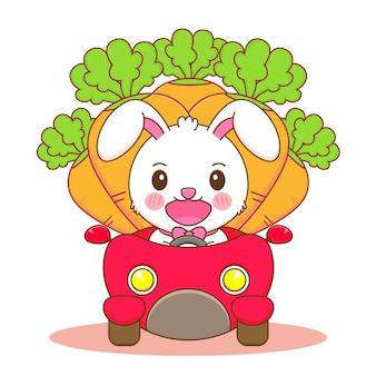 Karikaturillustration des netten kaninchens, das auto mit karotten auf rückseite fährt